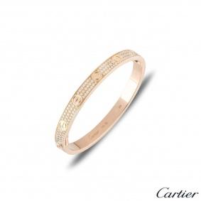 Cartier Rose Gold Full Diamond Pave Love Bracelet Size 16 N6036916